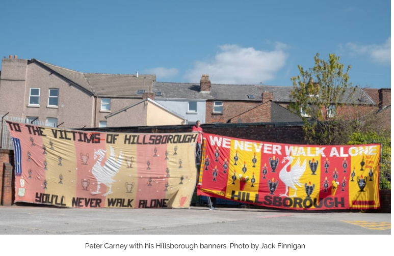 Peter Carney and Hillsborough Banners